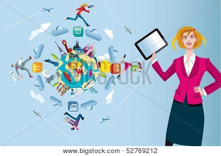 Woman with Tablet and World Globe