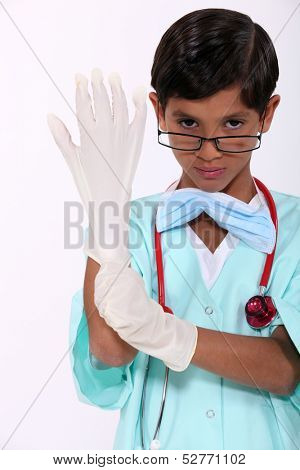 Boy dressed as a surgeon
