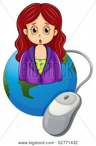 Illustration of a globe with a woman wearing a violet blazer on a white background