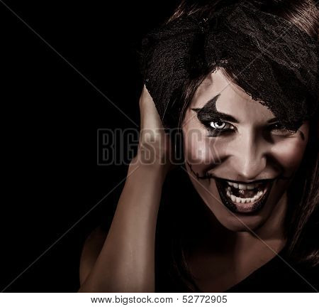 Closeup portrait of creepy vampire woman yelling, terrifying facial expression, open mouth, aggresive makeup, Halloween carnival concept