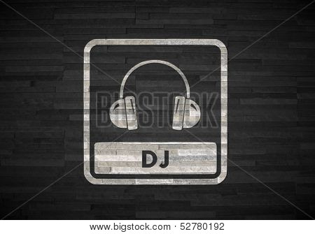 3D Graphic Of A Stylish Dj Symbol  On Noble Stone Texture