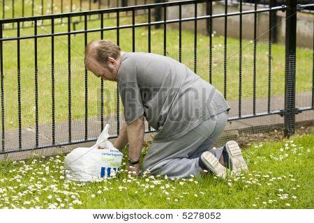 Man Pullin Weeds Up In His Garden