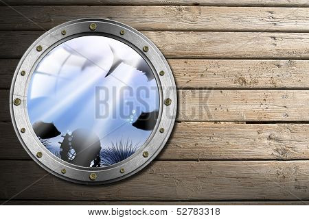 Metal Porthole With Sea Abyss Landscape