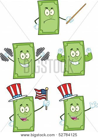 Dollar Bill Cartoon Characters 2. Collection Set