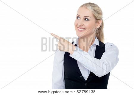Lady Pointing Towards Copy Space Area