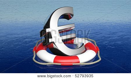 Life belt with euro sign in open sea