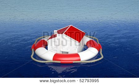 House on life belt in open sea