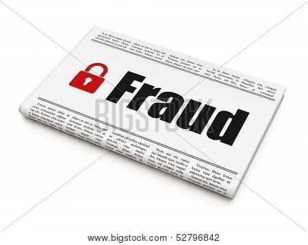 Protection news concept: newspaper with Fraud and Closed Padlock