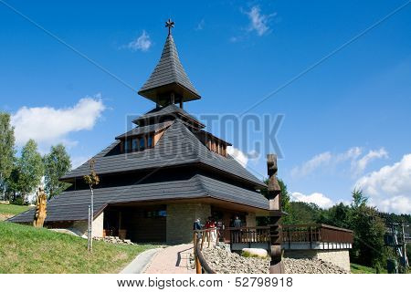 New modern belfry on the hill Solan, Moravian Beskydy Mountains