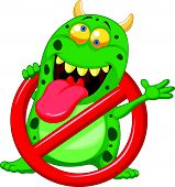 Cartoon Stop virus - green virus in red alert sign