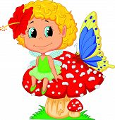 foto of fairy-mushroom  - Vector illustration of Cartoon Baby fairy elf sitting on mushroom - JPG