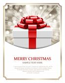 Gift box and light christmas vector background. Card or invitation. Eps 10.