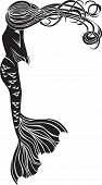 image of mermaid  - Crying mermaid stencil for stickers in Art Nouveau style - JPG