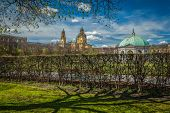Pavilion in Hofgarten and Theatine Church. Munich, Bavaria, Germany