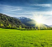 image of bavarian alps  - Alpine meadow in Bavarian Alps - JPG