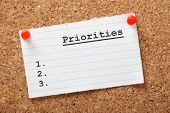 foto of priorities  - A blank list of Priorities on a paper note pinned to a cork notice board - JPG