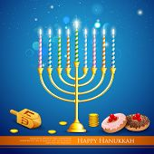 stock photo of dreidel  - illustration of burning candle in Hanukkah Menorah with dreidel - JPG