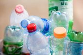stock photo of reprocess  - Plastic bottles in a refuse bin - JPG