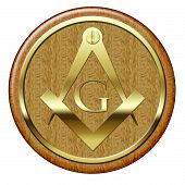 foto of freemason  - Freemason golden metallic symbol on wooden plaque - JPG