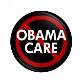 stock photo of mandates  - A black button with word Obamacare and not symbol isolated on white Stopping Obamacare - JPG