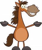 stock photo of buckskin  - Illustration Of Smiling Horse Cartoon Mascot Character - JPG