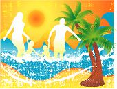 stock photo of family vacations  - Illustration of a family at the beach - JPG