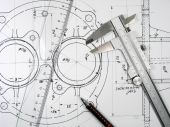Caliper, Ruler And Pencil On Technical Drawings