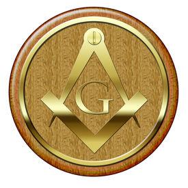 picture of freemasons  - Freemason golden metallic symbol on wooden plaque - JPG