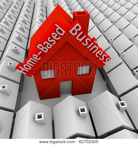 Home Based Business Words Big Red House Startup Company