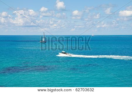 Blue Ocean, Skies And Boats
