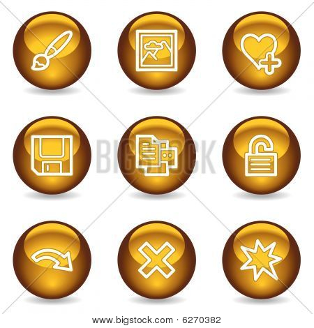 Image viewer web icons set 2, gold glossy series