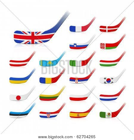 Ice hockey sticks with flags. Vector.