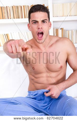 Half-naked Man Having Problems With Potency
