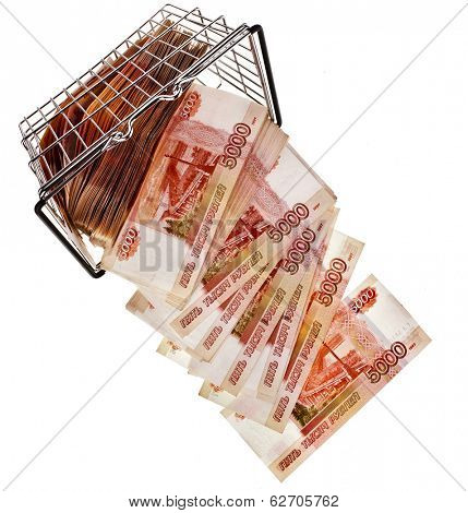 One Million Russian  Banknotes Rubles falling from shopping basket cart - isolated on white background