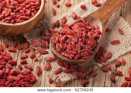 Goji berries in a wooden spoon