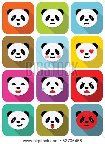 Panda bear flat emotions icons set.