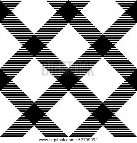 Checkered gingham fabric seamless pattern in black and white, vector