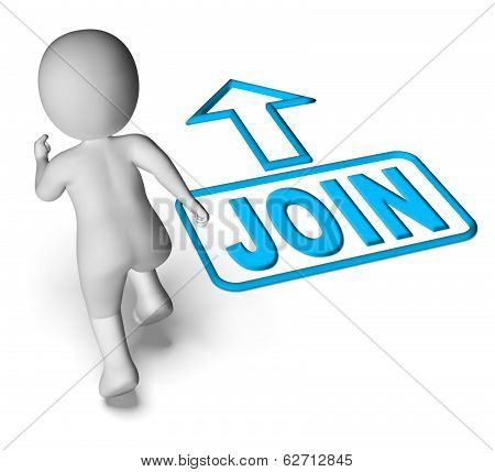 Join And Running 3D Character Shows Joining Membership Register