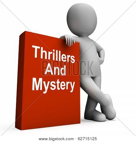 Thrillers And Mystery Book With Character Shows Genre Fiction Books
