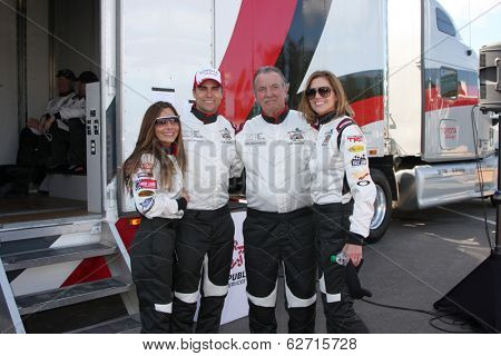 LOS ANGELES - APR 1: Vanessa Marcel, Colin Egglesfield, Eric Braeden, Tricia Helfer at the Toyota Grand Prix of LB Pro/Celebrity Race Press Day at Long Beach Raceway on April 1, 2014 in Long Beach, CA