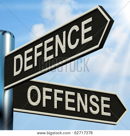 Defence Offense Signpost Shows Defending And Tactics