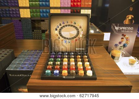 Variety of coffee capsules in Nespresso store