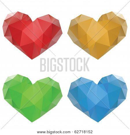 Polygonal Hearts Set