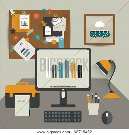 Work office. Flat vector illustration of modern business workspace. Stylish interior.