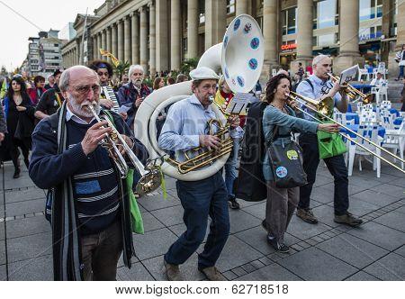 STUTTGART, GERMANY - APRIL 01, 2014: A protest demonstration against the construction of a new railway station building  (near the Central square of Stuttgart (Schlossplatz))