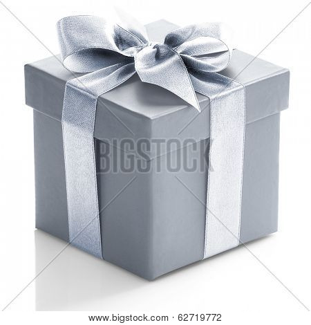 Grey gift box on white background.