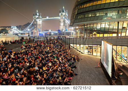 LONDON, UK - SEP 27: outdoor movie event with audience on September 27, 2013 in London, UK. London is the world's most visited city and the capital of UK.