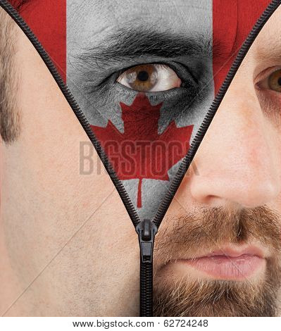 Unzipping Face To Flag Of Canada