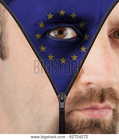 Unzipping Face To Flag Of The Eu