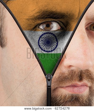 Unzipping Face To Flag Of India